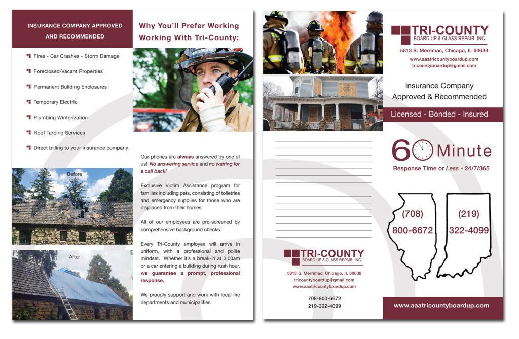 Two-fold Flyer for the Trip-County Insurance.
