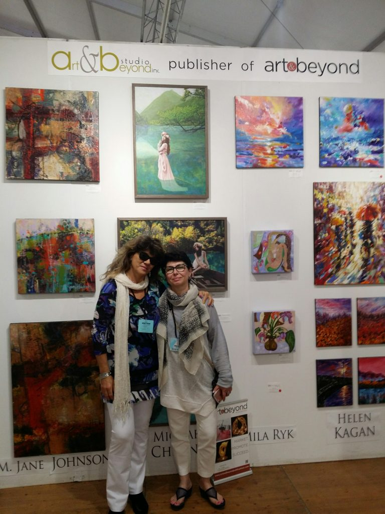 Mila Ryk (right) with artist Helen Kagan (left) at Spectrum Miami 2017