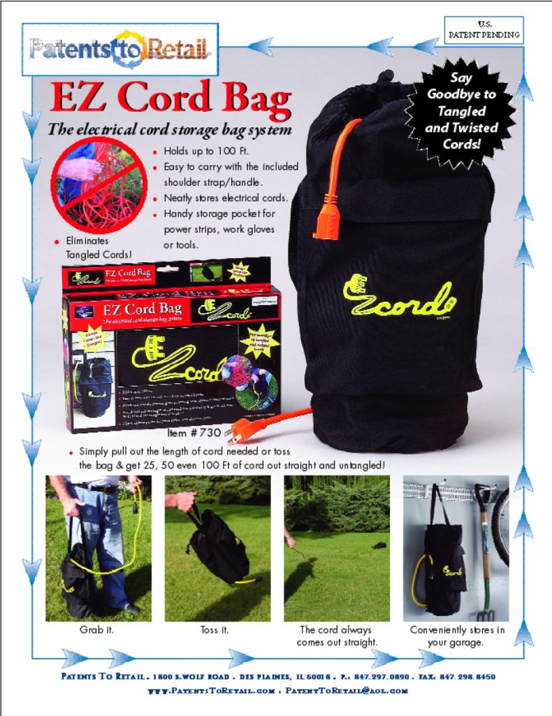 AXIS International Ldt. EZ Cord Bag. Loos Catalog Page for the Trade Show.
