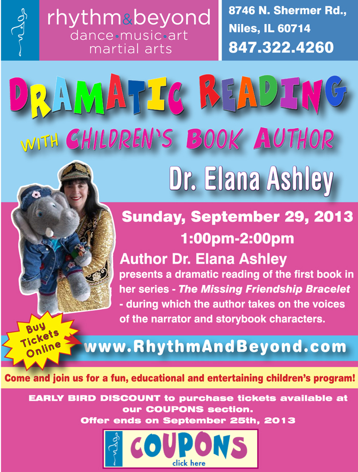 Dramatic Reading Flyer for author Dr. Elana Ashley