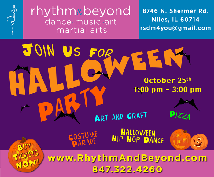 Rhythm & Beyond School. Halloween Party Invitation.