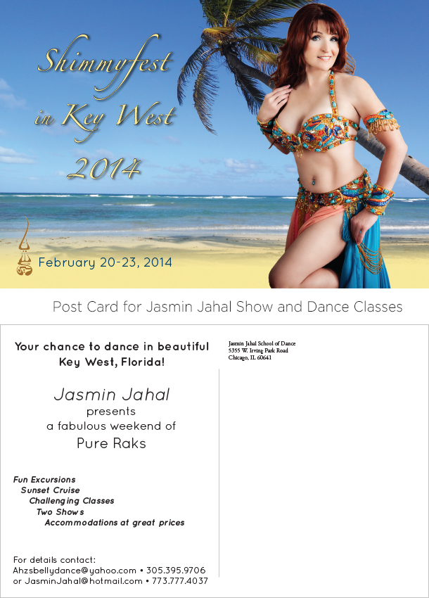Post Card for Jasmin Jahal Show and Dance Classes.